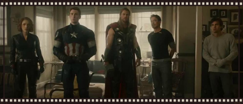 Earth's Mightiest Heroes, picturedhere looking at the film's only true surprise (Image  © Marvel).