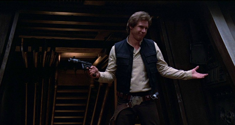 Harrison Ford mugs it up as Han Solo in Return of the Jedi (Image  © Lucasfilm/Disney).