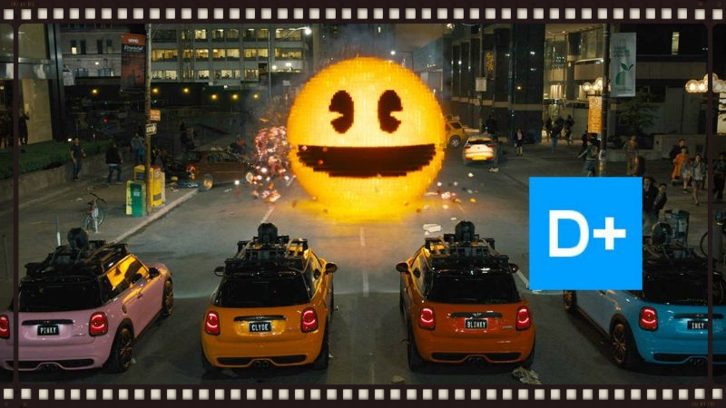 Pac Man stares down an alternate Pinky, Inky, Blinky, and Clyde in Adam Sandler's PIxels (Image  © Columbia Pictures).