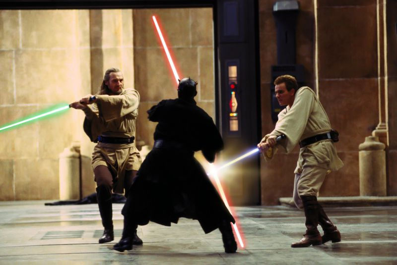 Liam Neeson, Ray Park, and Ewan McGregor in Star Wars Episode I: The Phantom Menace (Image  ©  Lucasfilm/Disney).