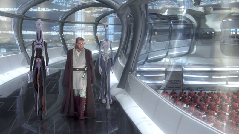 Obi-Wan Kenobi tours the cloning facility on Kamino (Image © Lucasfilm).