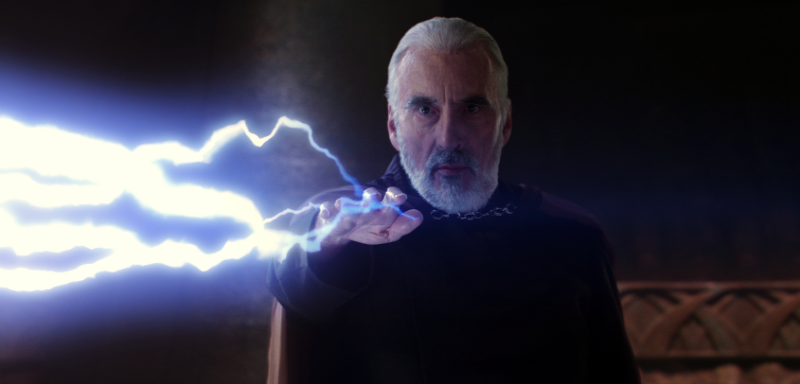 Count Dooku (Christopher Lee) zaps some Jedis (Image © Lucasfilm).