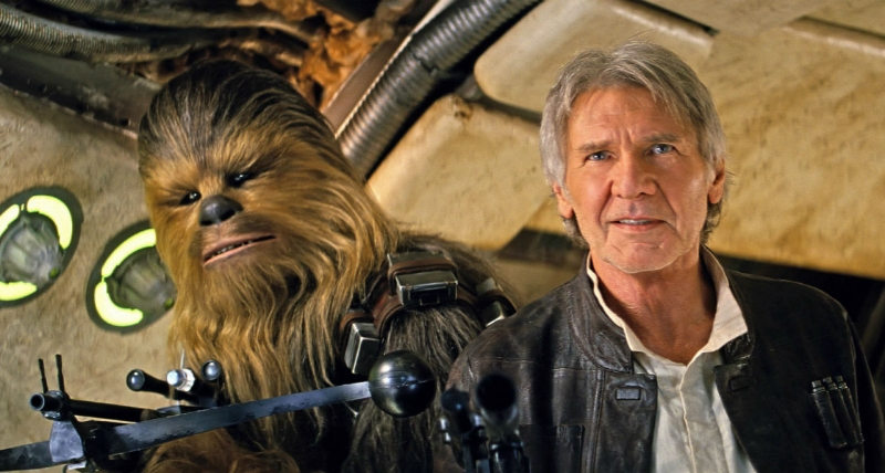 Chewie, they're home: Peter Mayhew and Harrison Ford return to their iconic roles in Star Wars: The Force Awakens (Image  ©  Lucasfilm).