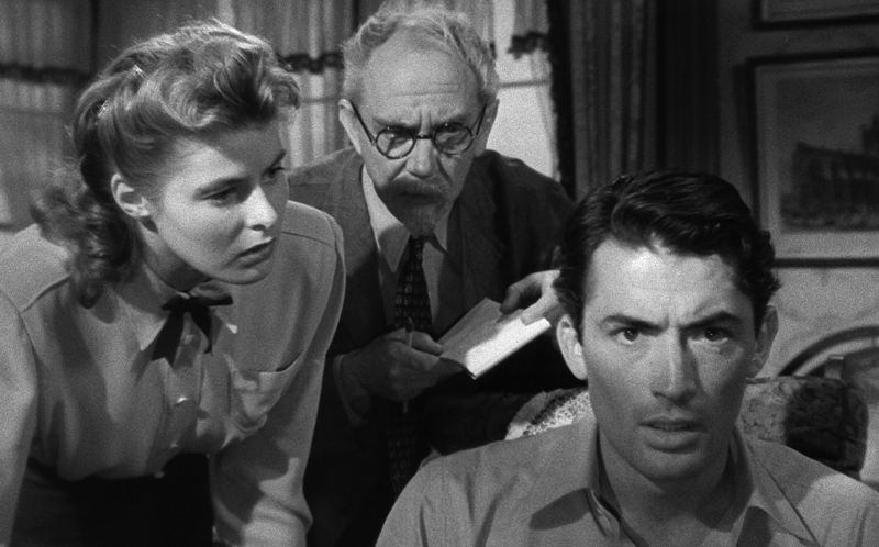 Ingrid Bergman, Michael Chekhov, and Gregory Peck star in Alfred Hitchcock's Spellbound (Image  ©  United Artists).