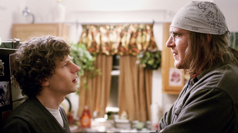 Jesse Eisenberg and Jason Segel star in  The End of the Tour  (Image © A24 Film).