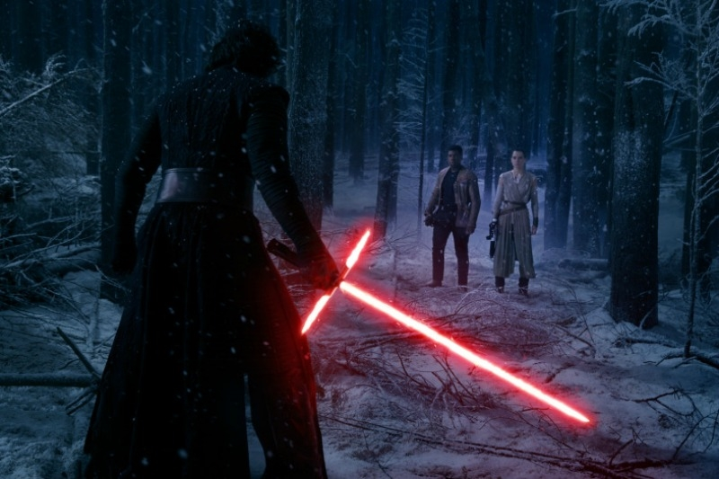 Rey and Finn stare down Kylo Ren in the climactic battle of  Star Wars: The Force Awakens  (Image © Lucasfilm).