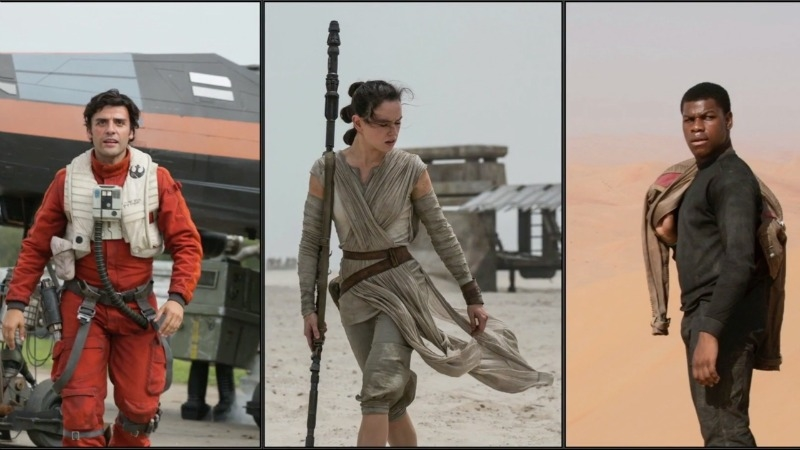Oscar Isaac as Poe Dameron, Daisy Ridley as Rey, and John Boyega as Finn (Image © Lucasfilm).