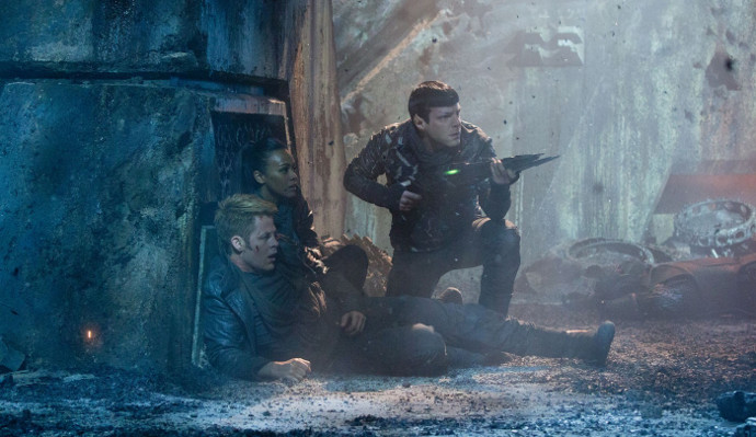Kirk, Uhura, and Spock in Star Trek Into Darkness (Image © Paramount Pictures).
