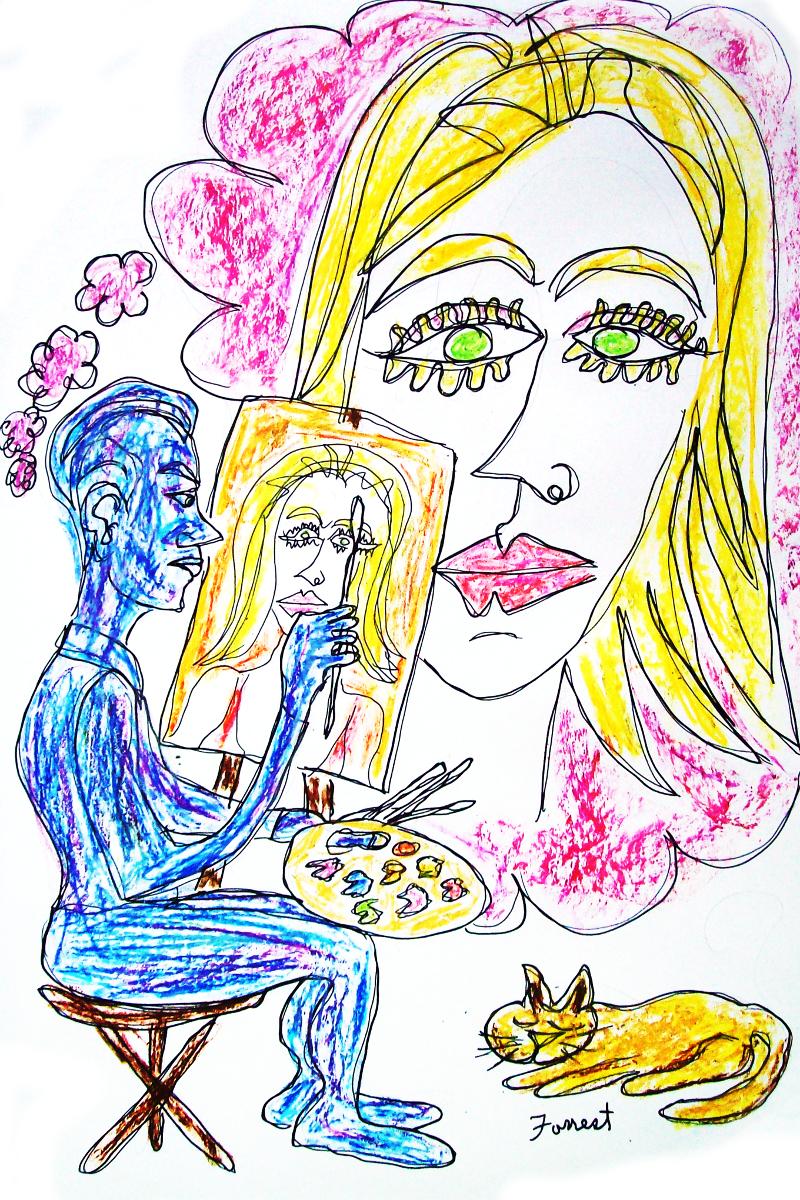 Memory of Her (ink/oil pastel)