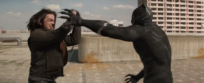 Bucky Barnes (Sebastain Stan) grapples with Black Panther (Chadwick Boseman) (Image © Marvel)