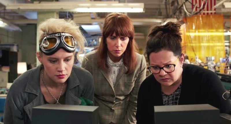 Kate McKinnon, Kristen Wiig, and Melissa McCarthy in the controversial reboot of  Ghostbusters  (Image copyright Sony Pictures).