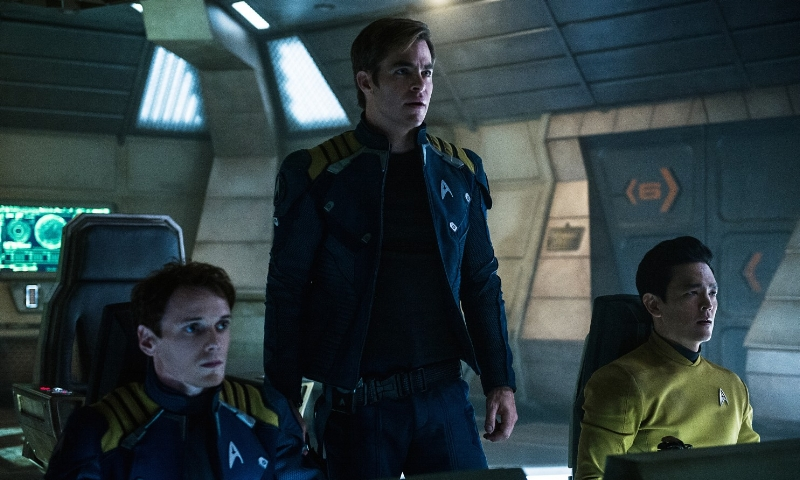 Anton Yelchin, Chris Pine, and John Cho in  Star Trek Beyond  (Image copyright Paramount).