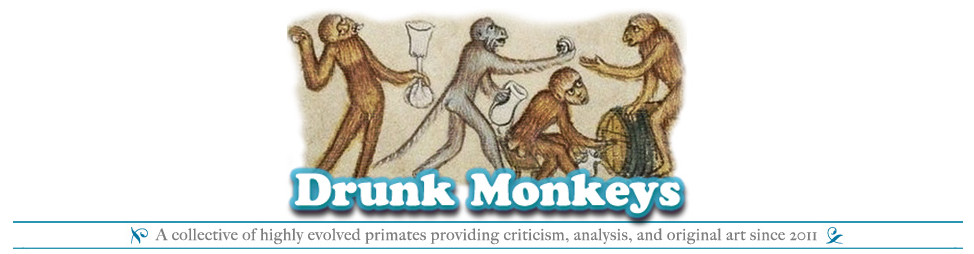 The  Drunk Monkeys  logo the day we launched, November 11, 2011.