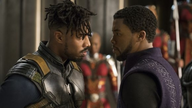 Michael B. Jordan and Chadwick Boseman in Marvel's  Black Panther  (Image © Marvel)