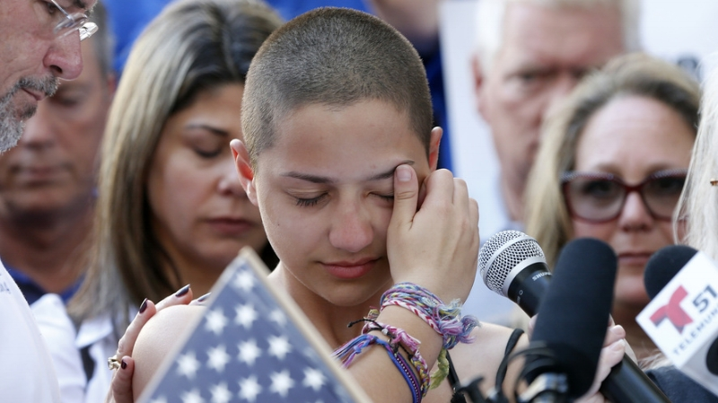 Emma Gonzalez, a senior at Marjory Stoneman Douglas High School, gives a speech calling out elected officials for failing to take action on gun control.