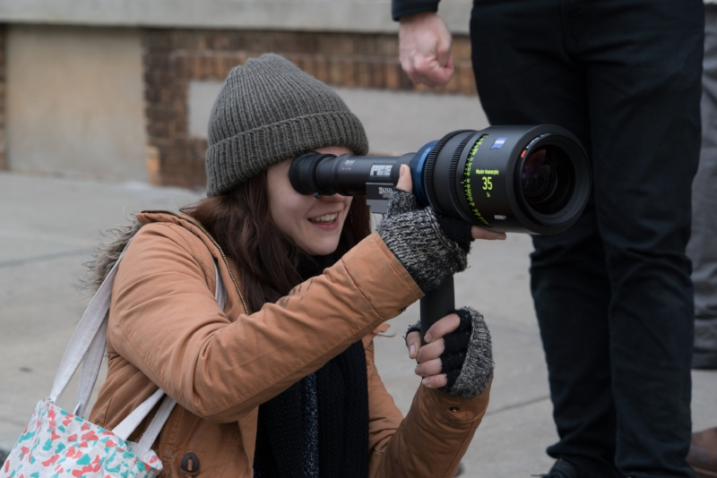 "Kathryn Prescott on the set of her short film ""Dear You"" (Image © Annette Brown)."