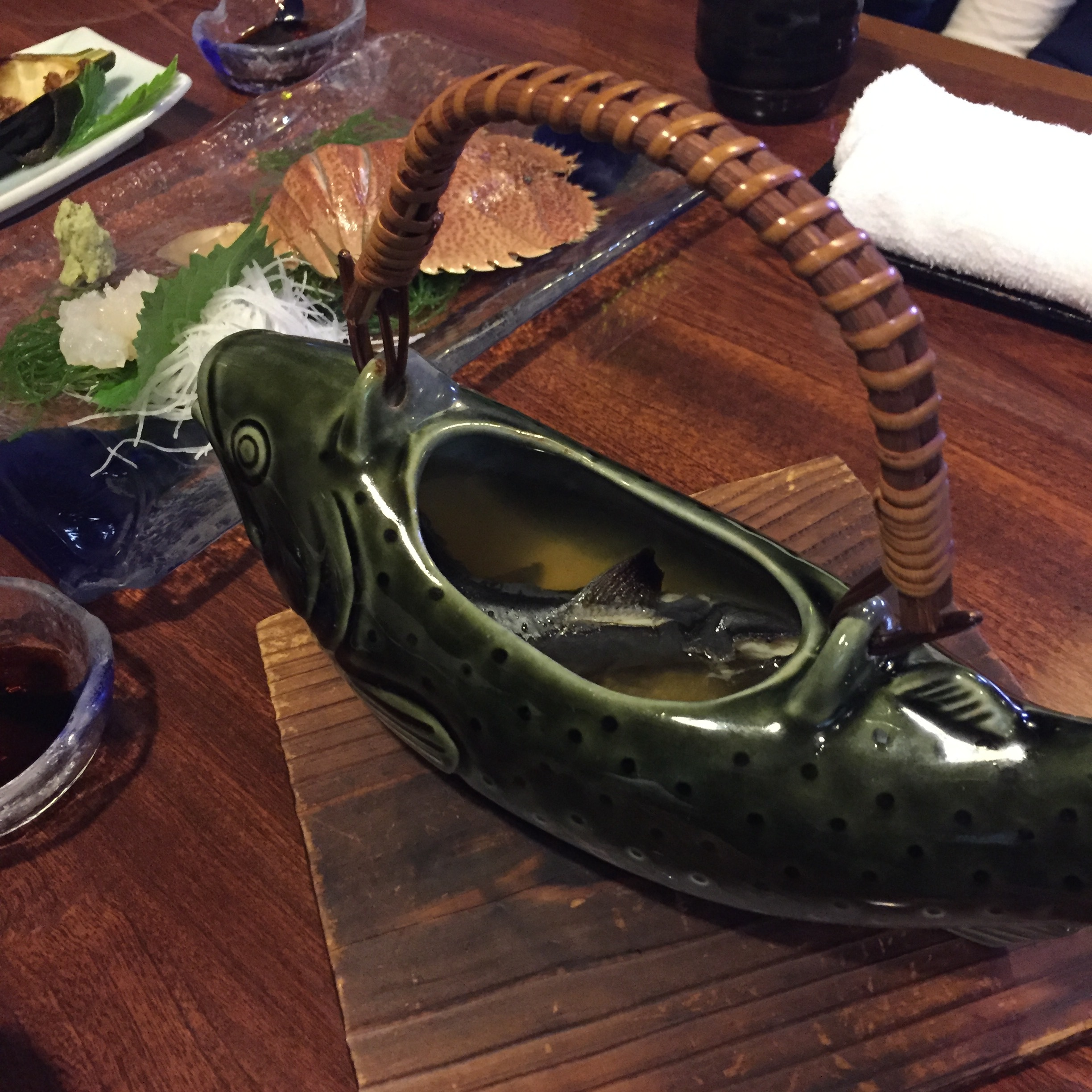 Hot sake served with grilled fish