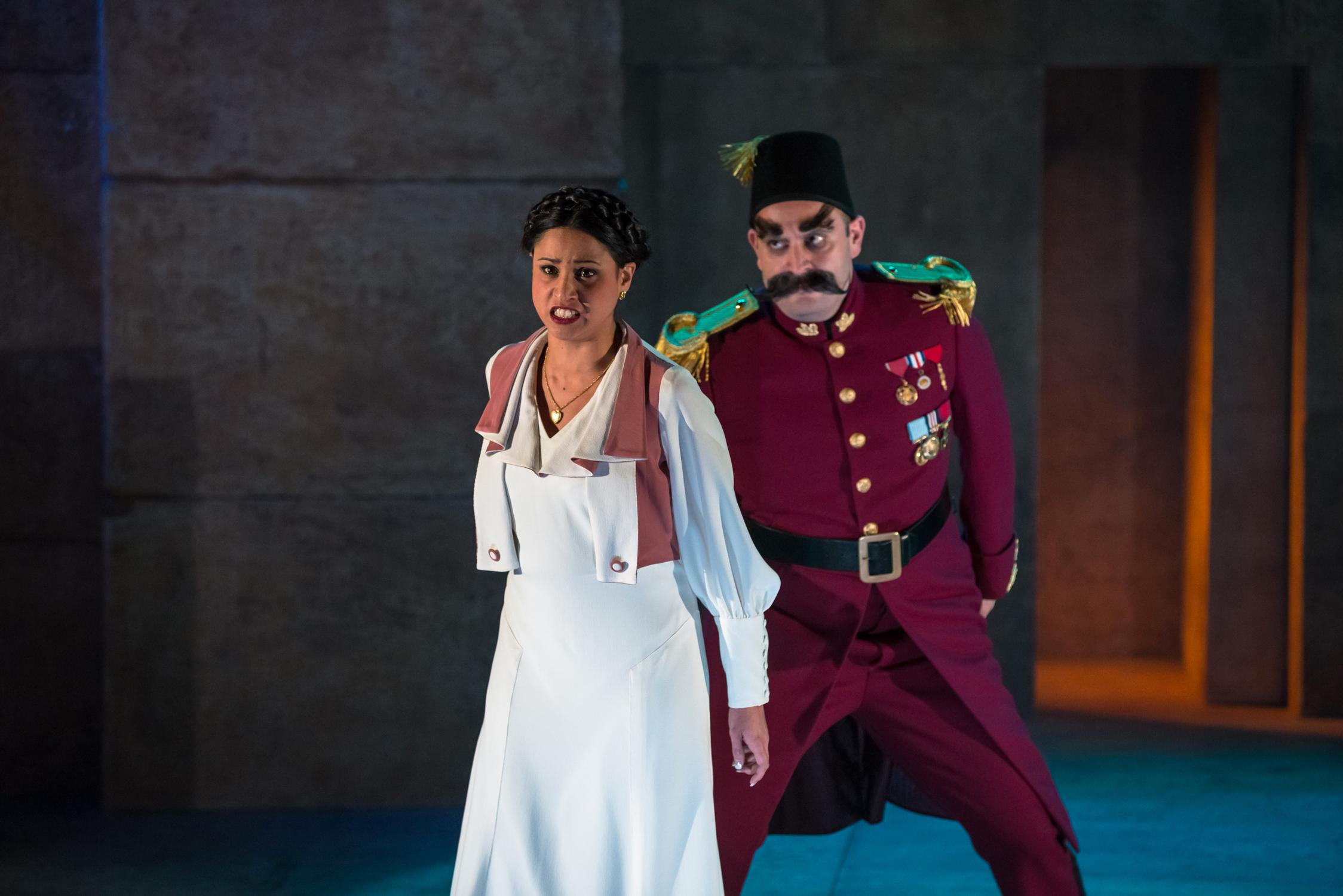 Stacey Alleaume as Pamina, Benjamin Rasheed as Monostatos. Photo:©Albert Comper