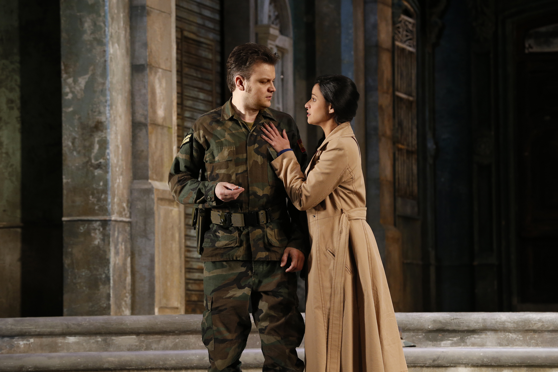 Stacey Alleaume as Micaëla and Dmytro Popov as Don José in Carmen; Melbourne 2017. Photo credit: Jeff Busby