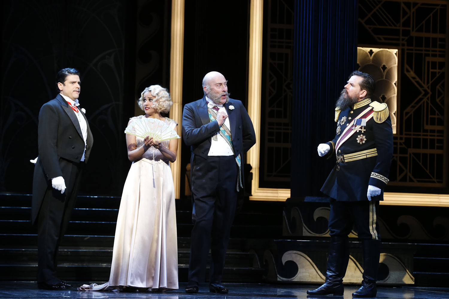John Longmuir as Camille de Rosillon, Stacey Alleaume as Valencienne, David Whitney as Baron Mirko Zeta and Richard Anderson as Alexis Kromov in The Merry Widow; Melbourne, 2017. Photo credit: Jeff Busby