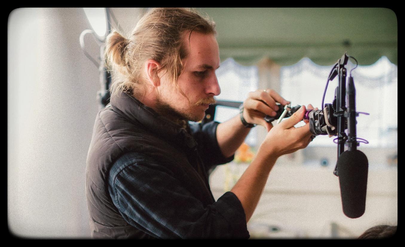 Hugh the sound recordist setting up a boom mic