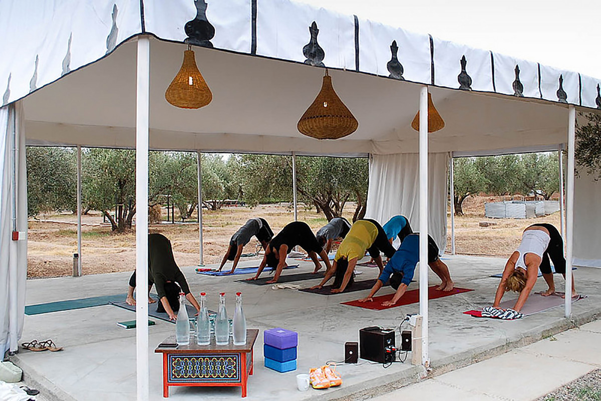 Image: Peacock Pavilions. Yoga with a mountain view.