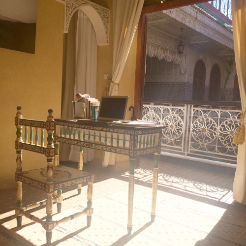 Image: Marie Milligan 2015. Writing desk & view from Riad Jardin Secret, Marrakech
