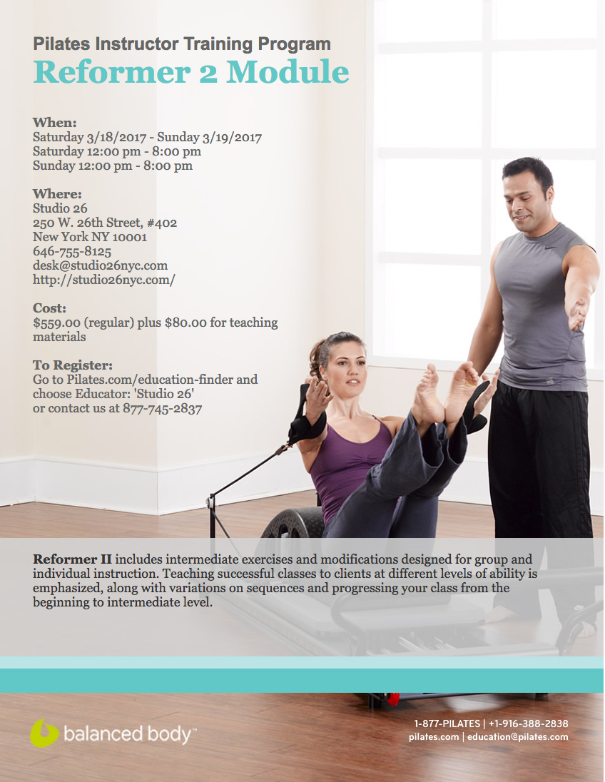 REFORMER II WITH LESLEY POWELLMARCH 18TH + 19TH, 201712pm - 8pm -