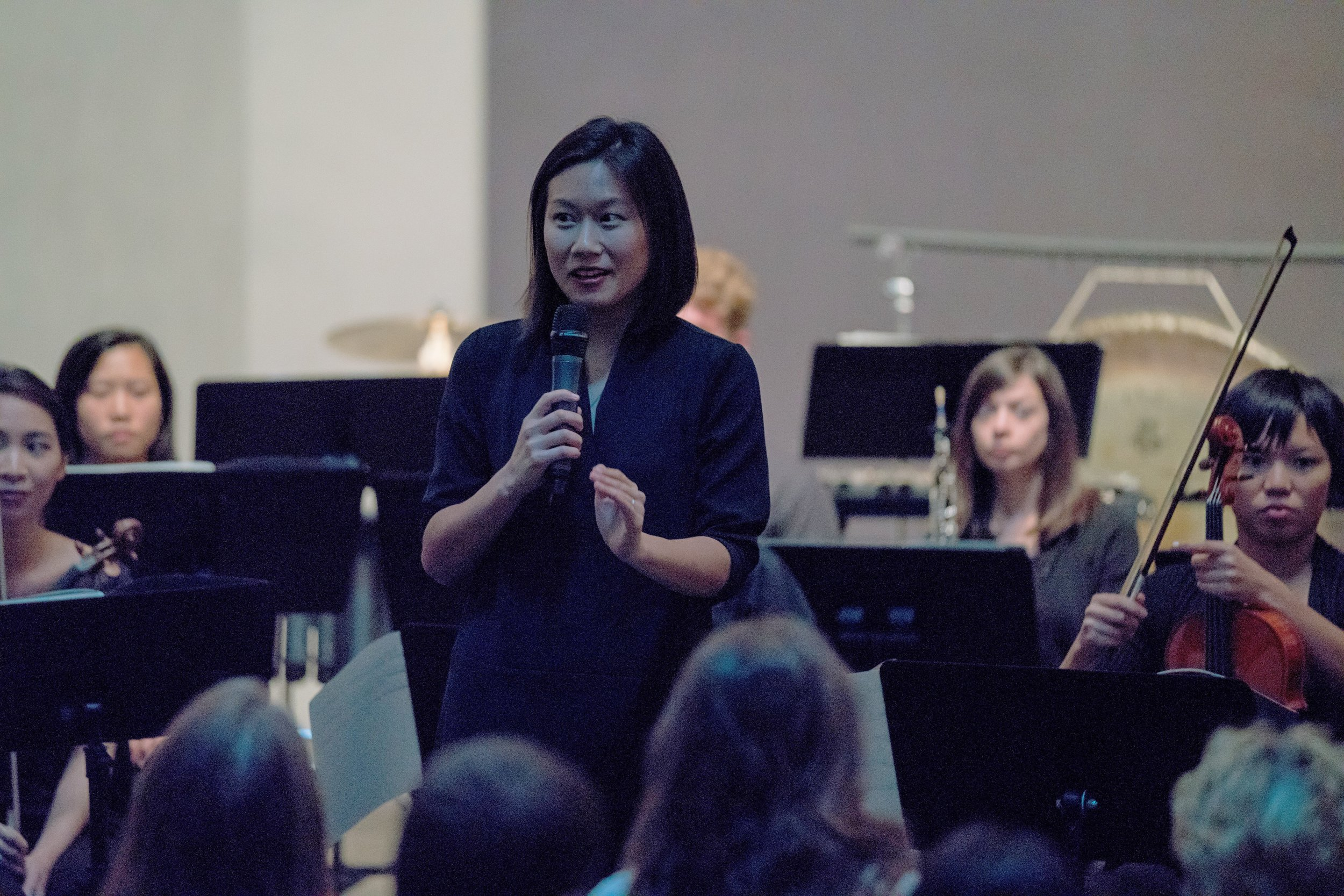 Yvonne Chen speaking before a performance of Georg Friedrich Haas'  in vain  at Rothko Chapel. Photo by Ben Doyle Runaway Productions.