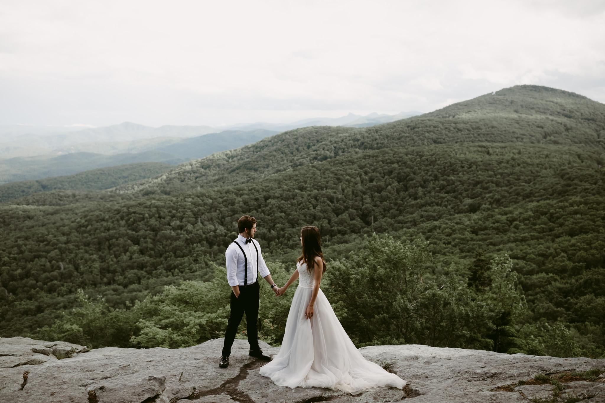 Bride and Groom on Edge of Hurricane Ridge