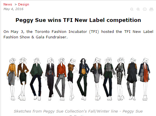 FASHIONMAG  Peggy Sue wins TFI New Label competition