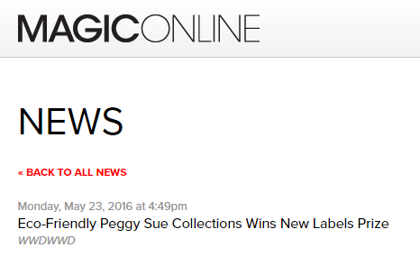 MAGICONLINE  Eco-Friendly Peggy Sue Collections Wins New Labels Prize