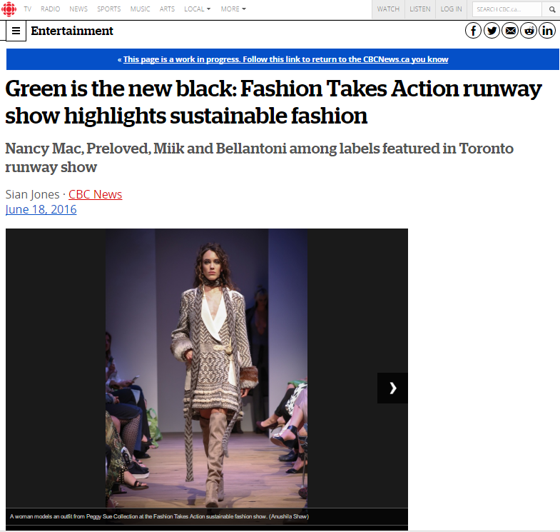 CBC  Green Is The New Black: Fashion Takes Action Runway Show Highlights Sustainable Fashion