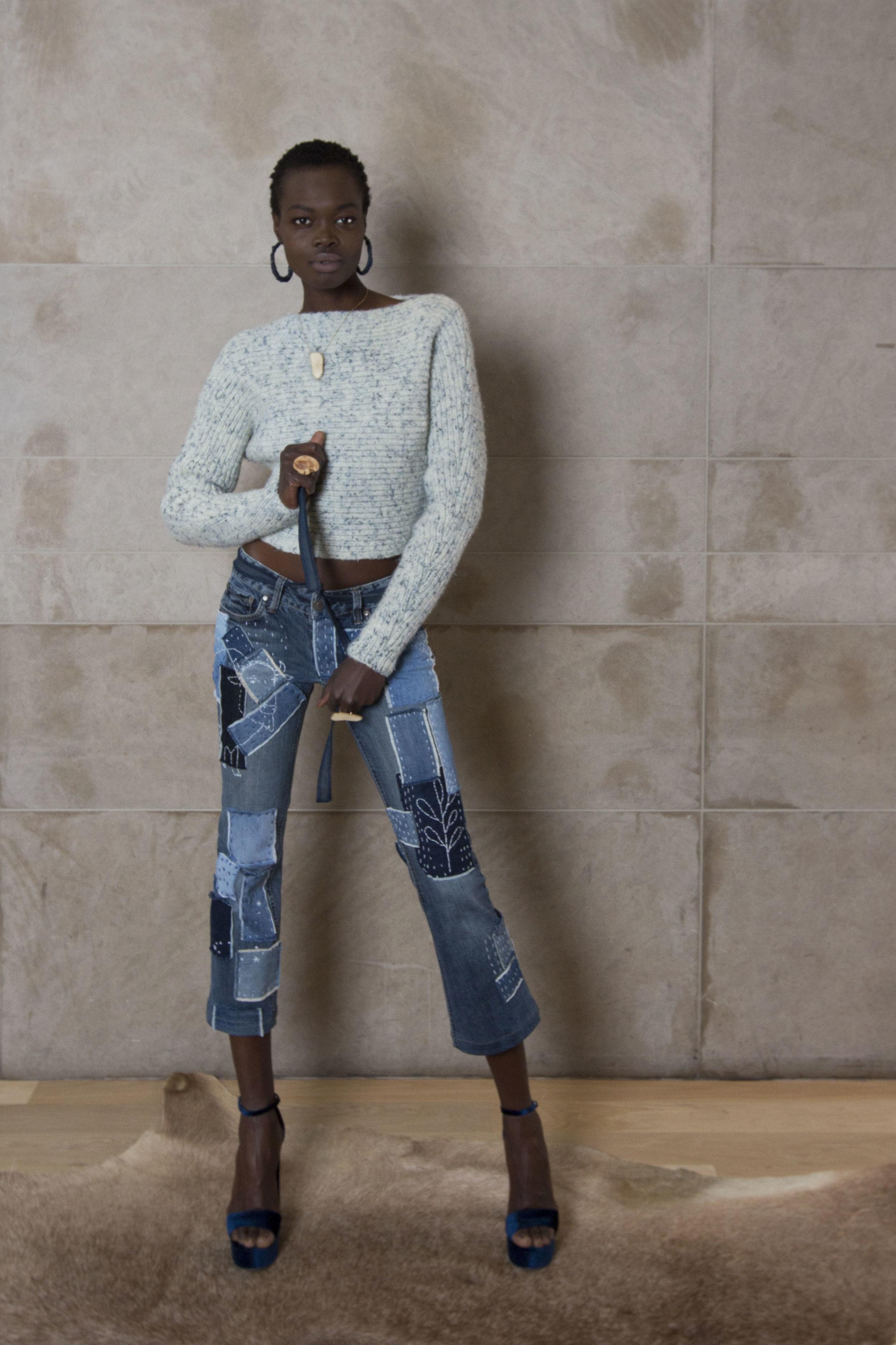 Denim Fleck Cropped Sweater and Sashiko Stitched Cropped Denim Pant