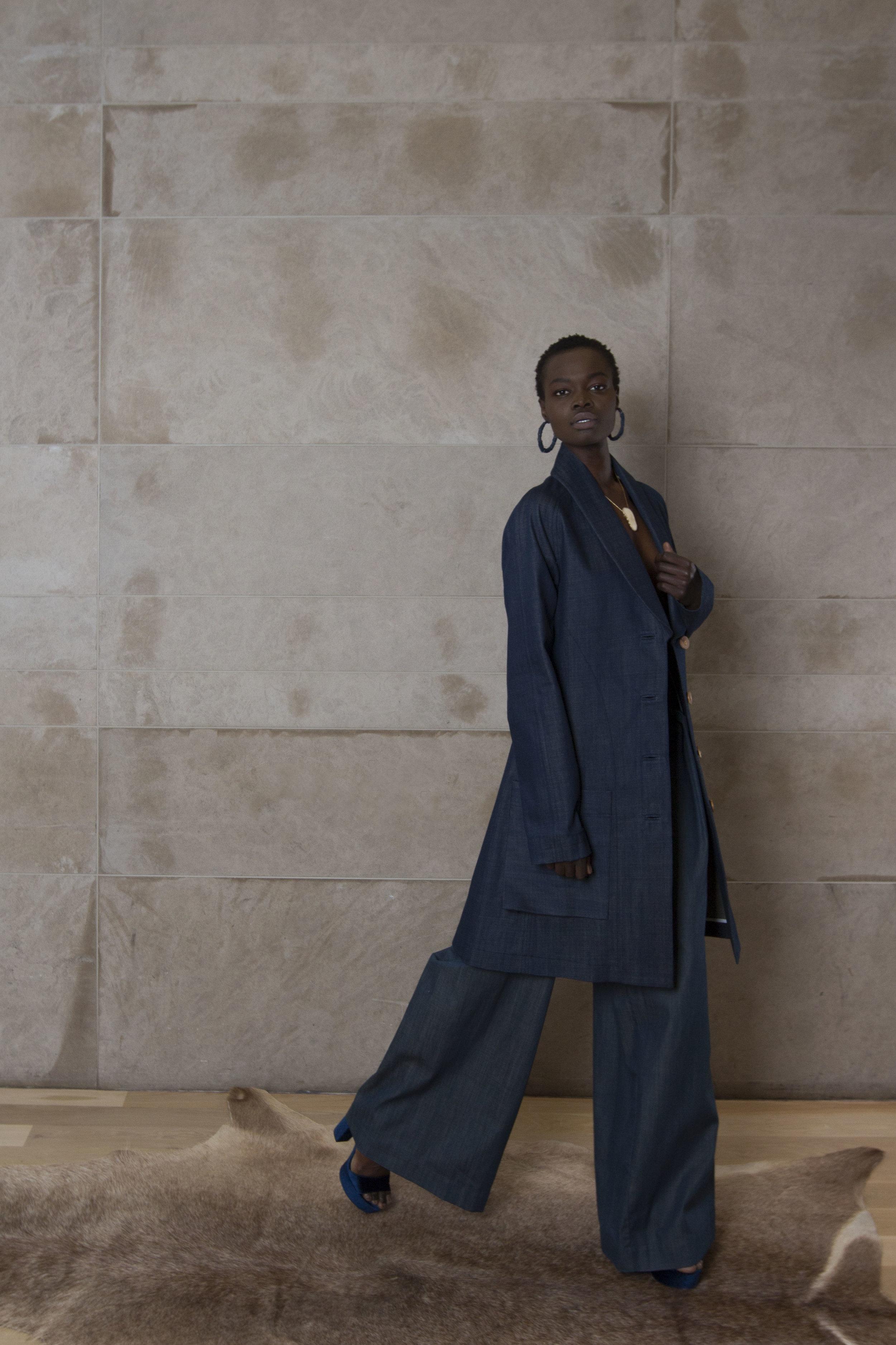Raw Denim Overcoat and Denim Trousers