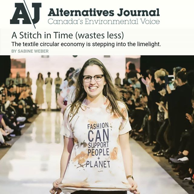 """ARTICLE ALERT: Check us out in this month's Alternatives Journal as Toronto based researcher Sabine Weber sheds light on the importance of a circular economy and the Upper Canada Fibreshed Movement  http://www.alternativesjournal.ca/sustainable-living/stitch-time-wastes-less """"Fashion designer Peggy Sue Deaven-Smiltnieks:With their focus on focuses on hyper-traceable fibres, artisanal production and zero-waste design, the Peggy Sue Collection won the 2017 Design Forward: Canada's Most Sustainable Fashion Award."""" 📸 by Che Rosales L A R A W A N"""
