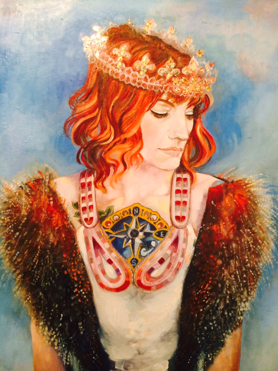 Chanelle: Queen of Fire, 24 x 30 inches,oil and metal leaf on canvas, 2015