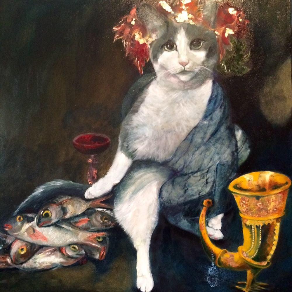 Bacchus (AKA Mushy Peas)  24 x 24 inches  Oil on Canvas  2015