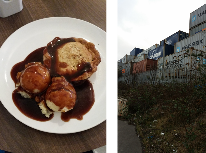 Beef and Guinness pie with a side of mash. Perfecto. Walking through the industrious parts of town.