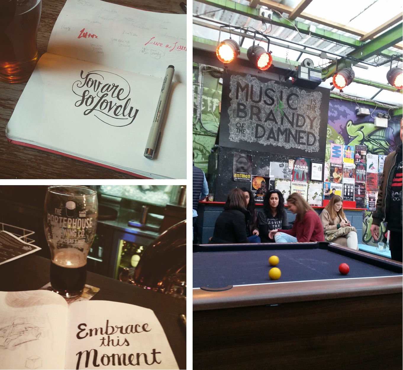 Drinking, doodling, and playing pool with tiny balls