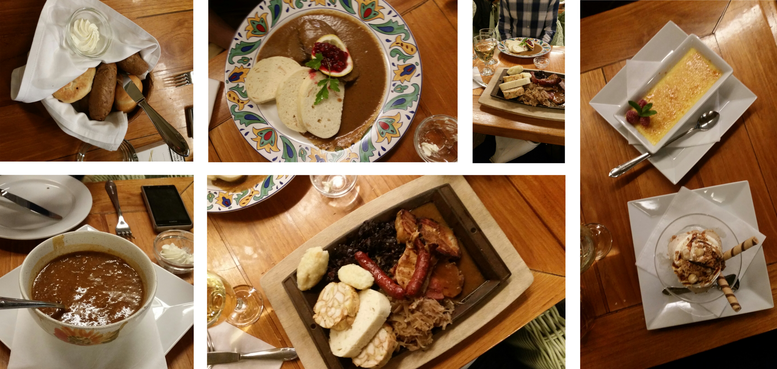 Bread, goulash soup, sirloin with cranberry and dumplings, various meats, dumplings, & cabbage, and finally dessert.