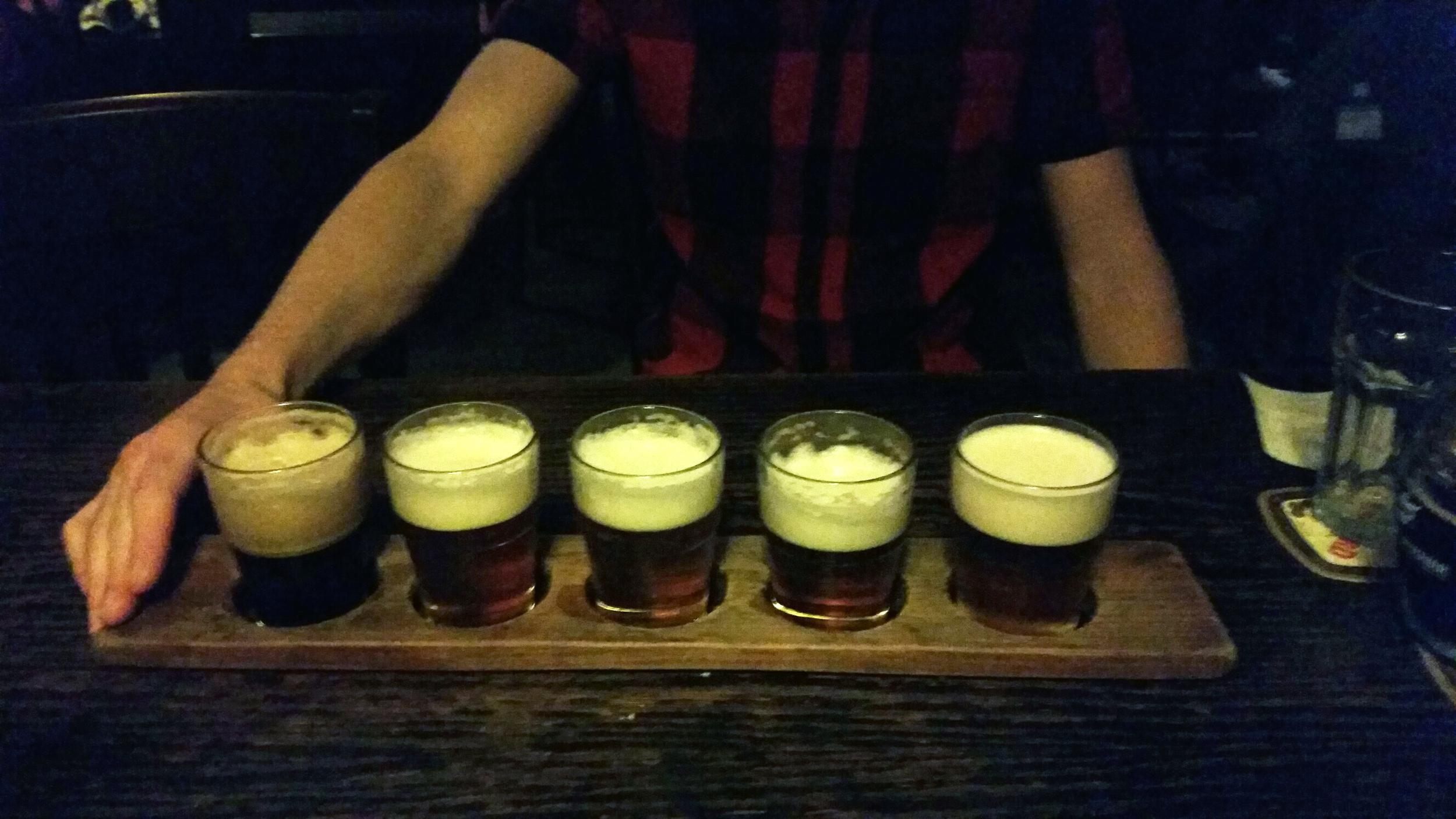A beer flight in the Prague Beer Musuem