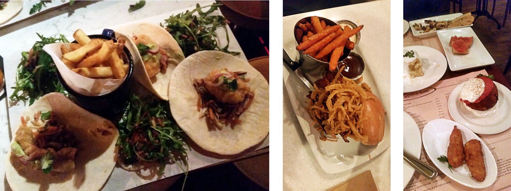 Fish tacos, burgers, and tapas.