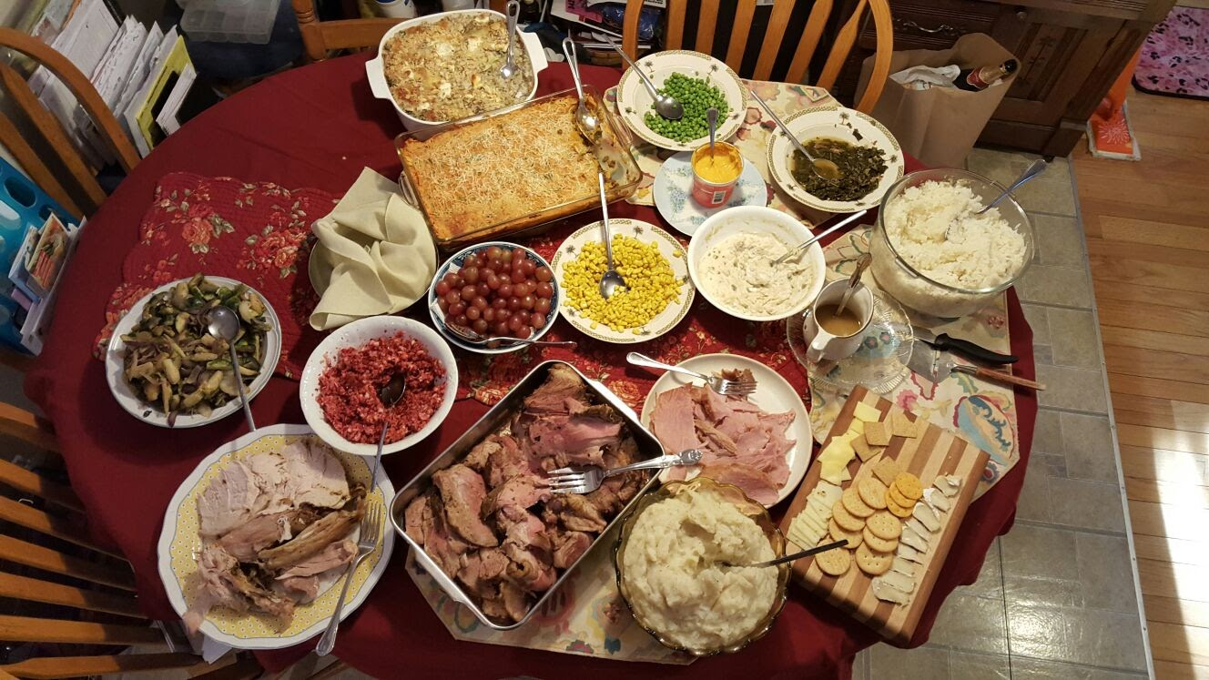 Enough food to feed a fuck ton more than the four people my mother made it for, although none of it will go to waste!