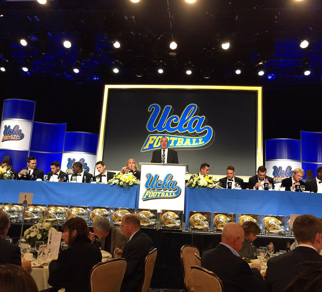 Serving as host of the 2015 UCLA Football Awards dinner and the Beverly Hilton, Los Angeles.