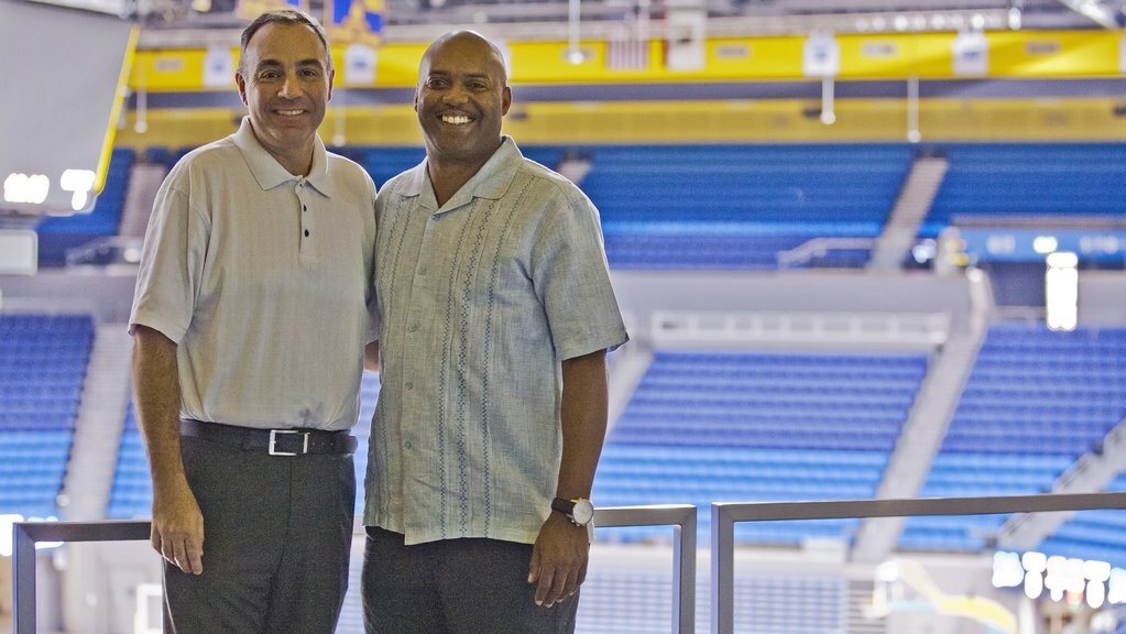 With my analyst Darrick Martin at Pauley Pavilion at UCLA during the 2016 basketball season.