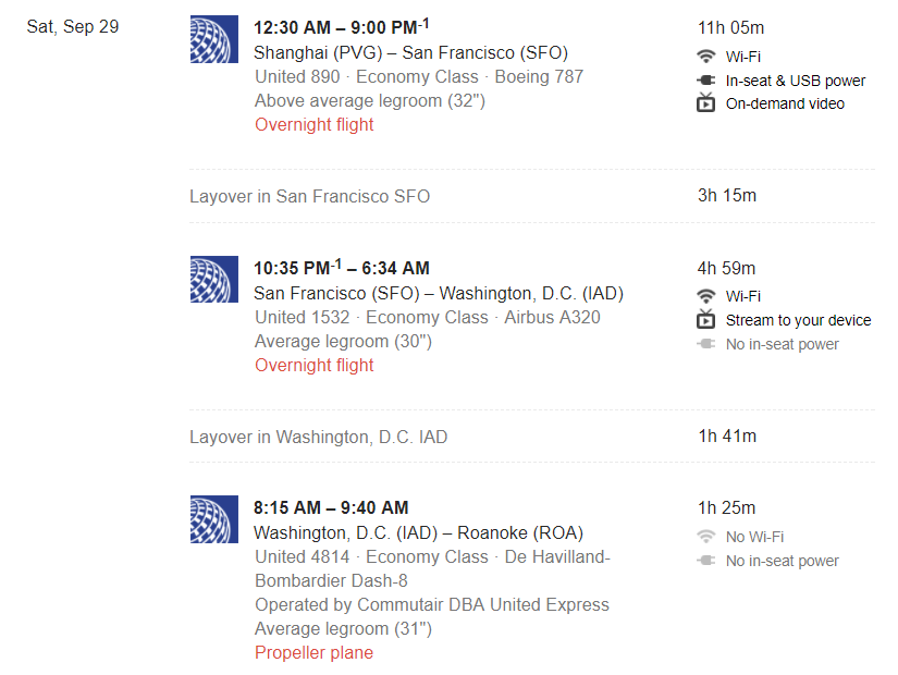 26 Hours from Shanghai to Roanoke. Weldon's itinerary to see the Hokies vs. Tigers.