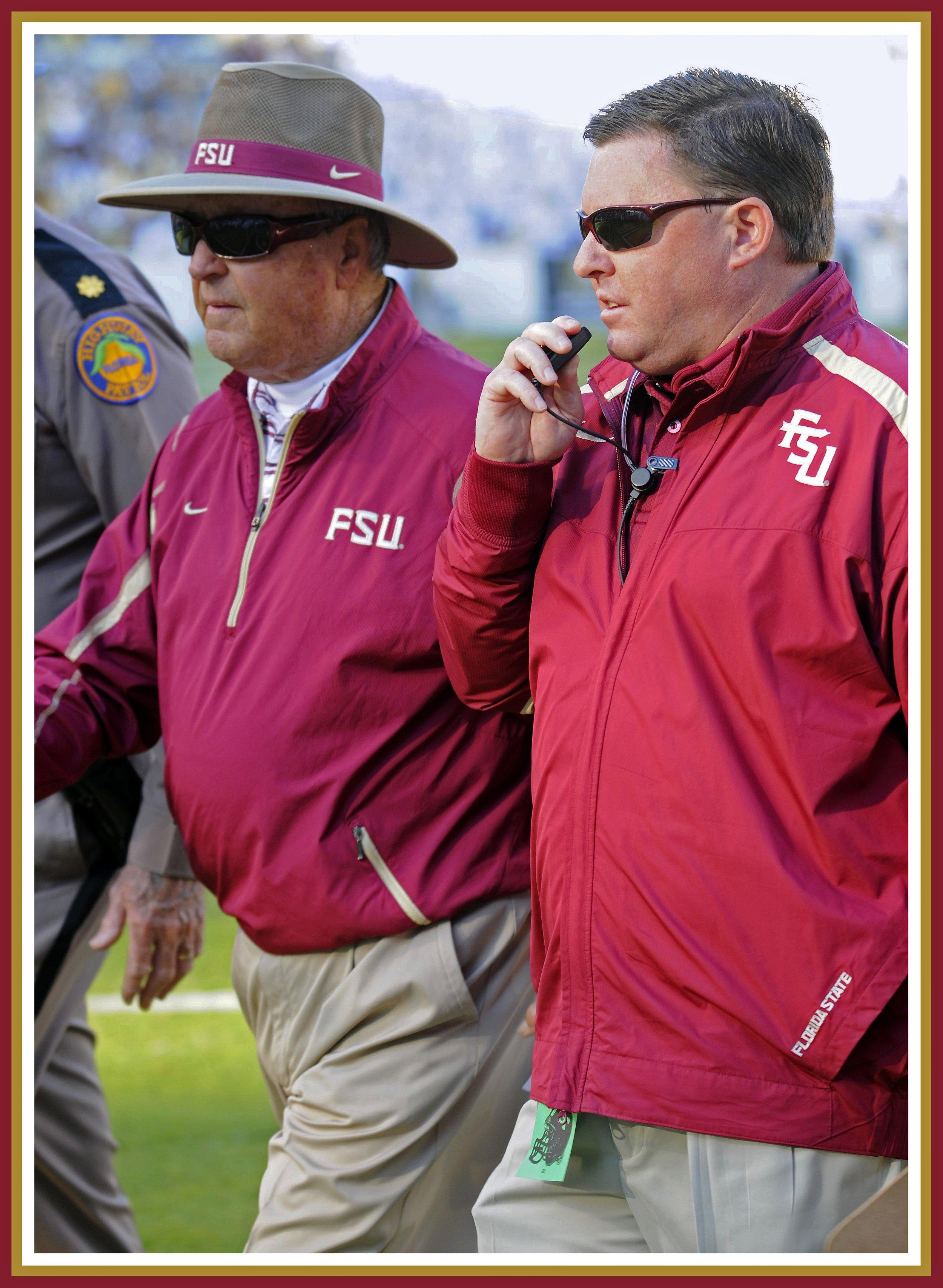 Florida State's Chuck Walsh confers with football coach Bobby Bowden. Photo: Chuck Walsh/FSU