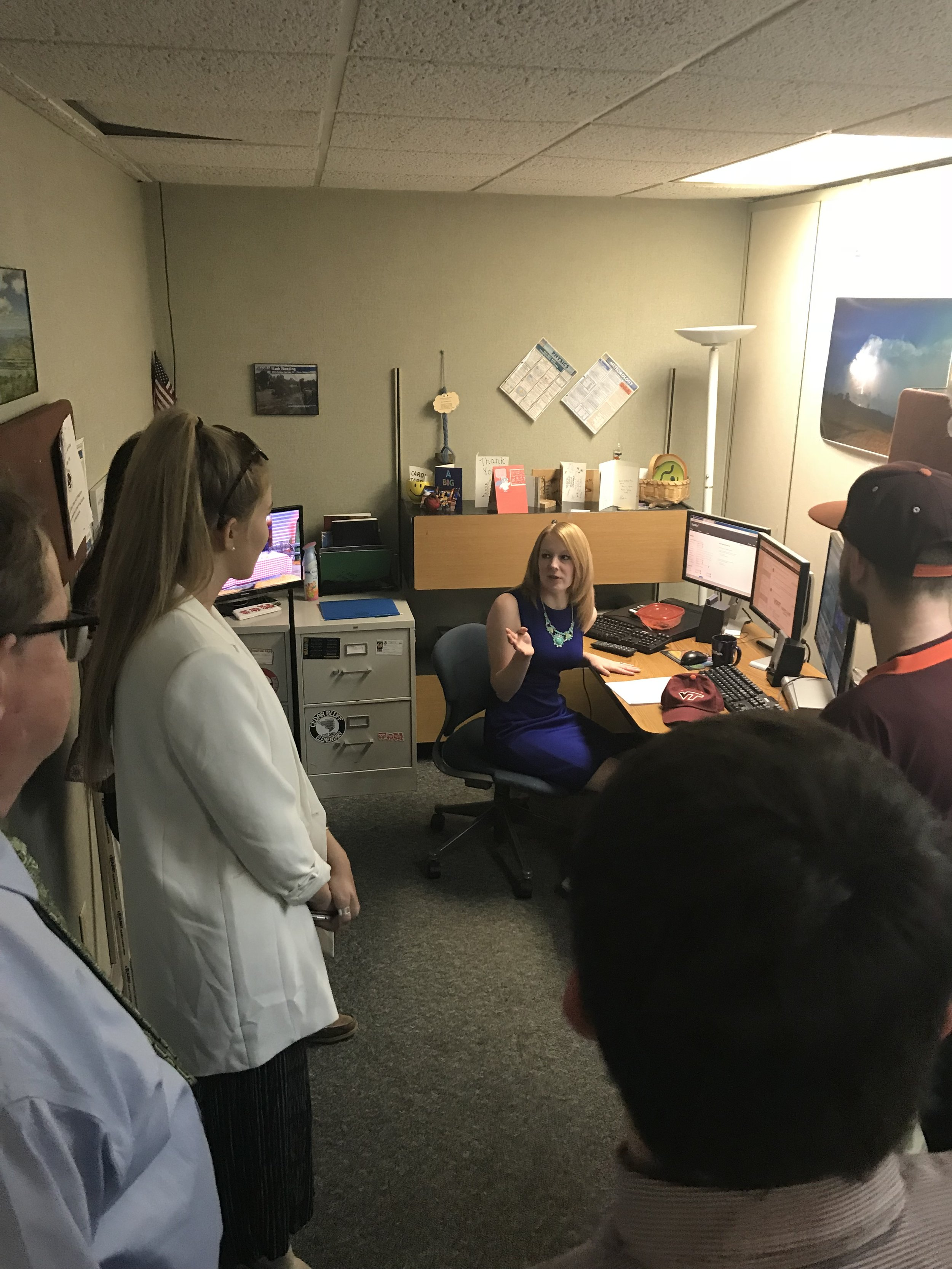 Virginia Tech students visit with WVVA-TV meteorologist Katherine Thompson on the group's recent visit to WVVA-TV. Katherine is a 2014 N.C. State graduate who,in addition to her degree in meteorology, also holds a B.A. degree in History. She provided terrific insight for our group.