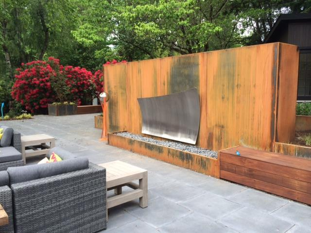 Large Custom Corten and Stainless Fireplace